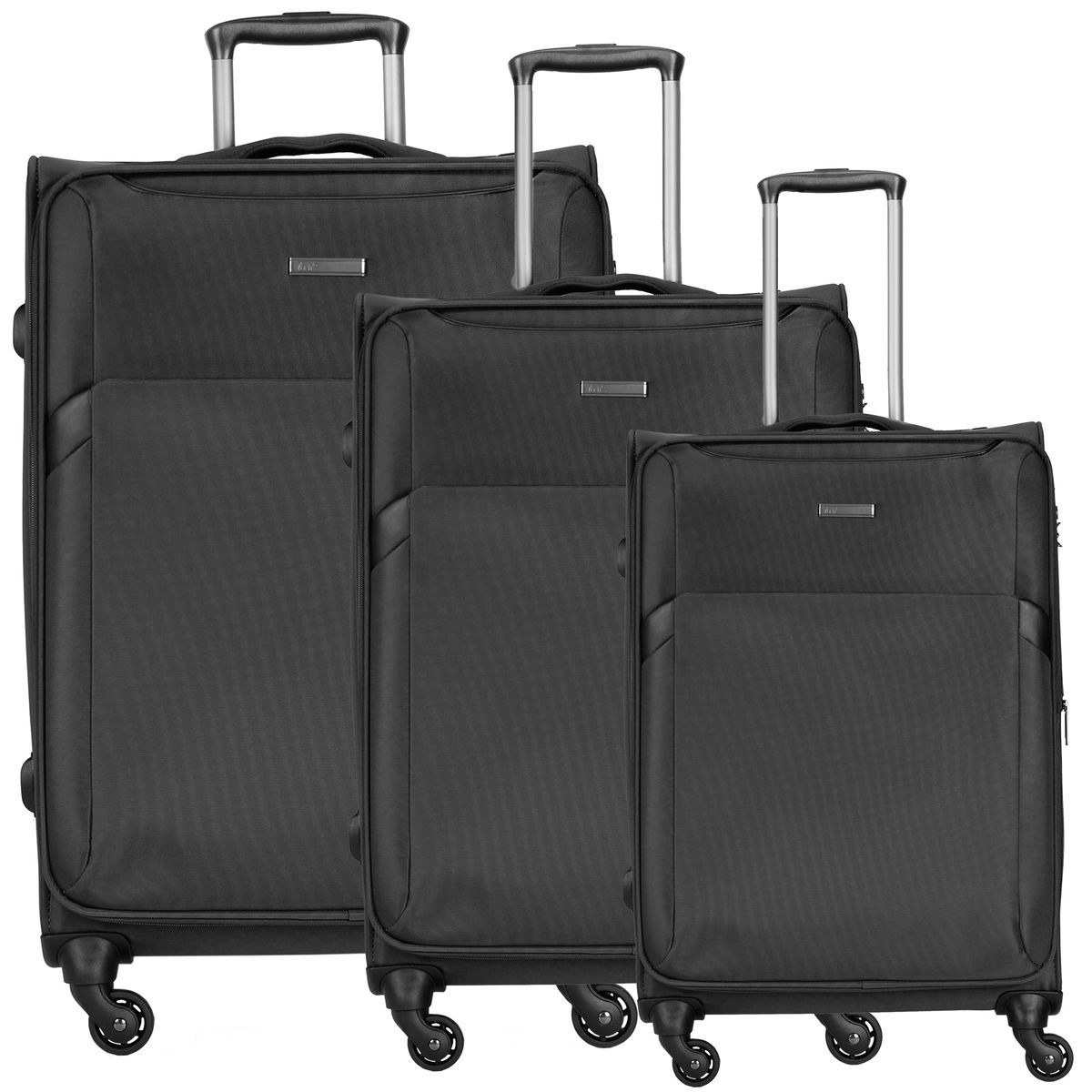 d & n Travel Line 7600 4-Rollen Trolley Set 3-tlg., schwarz