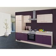 Flex-Well Exclusiv Küchenzeile Focus 270 cm Akazie-Aubergine FLEX-WELL EXCLUSIV