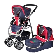 knorr toys - Puppenkombiwagen Coco inkl. Puppenwanne - denim and red KNORRTOYS