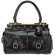 The Bridge Icons Bügeltasche Alyce Small Leder 29 cm, nero-goldfarben THE BRIDGE