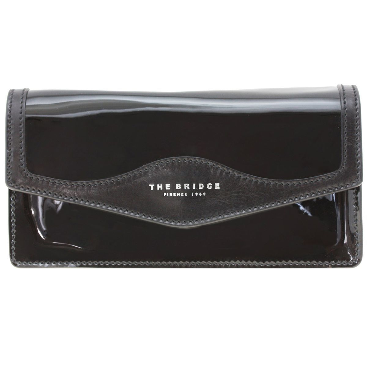 The Bridge Glitter Clutch Tasche 26 cm Leder, nero